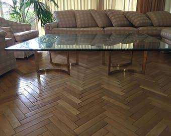 Modern Glass Coffee Table with Brass Leg