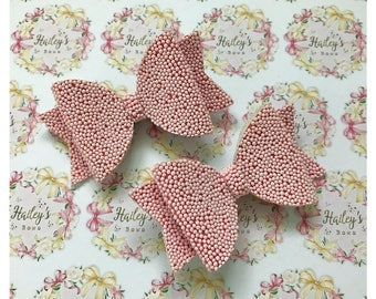 Pink Hundreds and Thousands Hair Bow Set Pigtail Hair clips