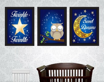 Set of 3 night owl Prints