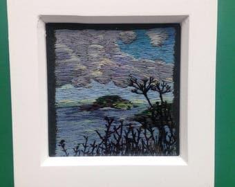 Framed Hand Embroidered Thread Painting of Looe Island, Cornwall