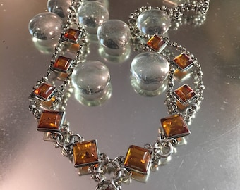 Vintage 1960s Amber and Sterling Silver Collar Necklace Stunning Statement