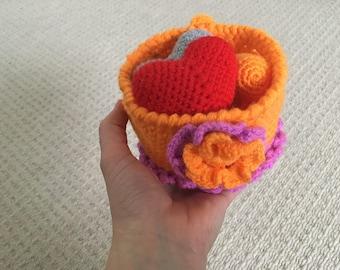 Decorative basket full of hearts