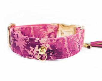 Pink dog collar - Botanical - Girl dog collar - Feminine dog collar - Elegant dog collar - Violet pet collar - leaves flowers dog collar