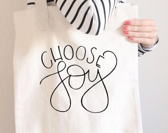 Choose Joy Tote Bag | Handlettered Tote | All Purpose Tote Bag | Choose Joy | Unique Gift | Reusable Bag | Grocery Bag | Teacher Tote