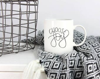 Choose Joy | Ceramic Mug | Coffee Mug | Handlettered Quote Mug | Housewarming Gift | Bible | Scripture Quote Mug | Handlettering | Ceramic