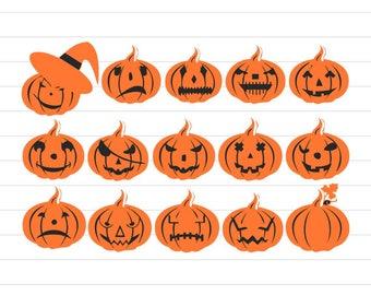 INSTANT DOWNLOAD - Pumpkin, Pumpkin Svg, Pumpkin Faces Clipart, Halloween Pumpkin Svg, Halloween Svg, Pumpkin Clipart, Halloween Clipart