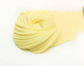 Banana Buttercream Slime, Clay Slime, Yellow Stretchy Handmade Slime, Spreadable 4oz