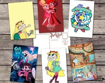 Star vs the Forces of Evil set 6 postcards | star butterfly  art poster | marco diaz illustration | pony head print | PaperBunnyShop