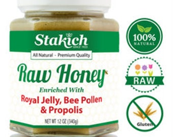 Royal Jelly, Bee Pollen & Propolis Raw Honey