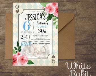 Classic Alice in Wonderland Invitations with envelopes