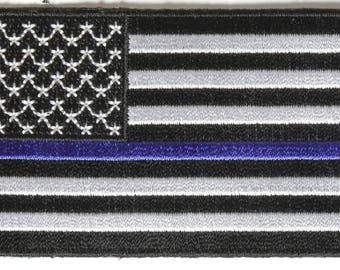 American US Flag Police Department Thin Blue Line Patch (3.5 x 2.0)