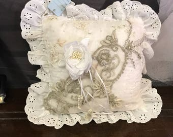 Vintage lace on white cream