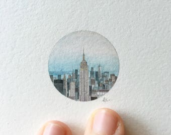 Watercolor Miniature Painting - New York City (Empire State Building)