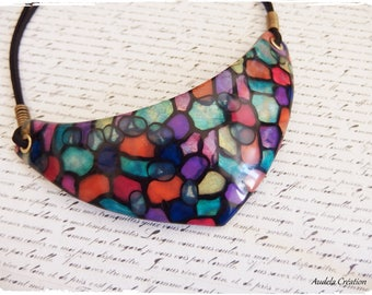 Totally stained one polymer clay bib necklace