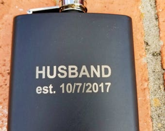Personalized Engraved 6 oz. Stainless Steel Flask, Groomsmen Gift Flask, Wedding Flask