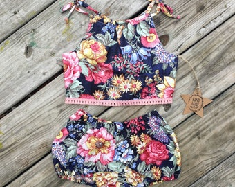 Baby girl clothing sets- toddler clothing- summer- sunsuits- navy floral