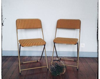 Pair of chairs folding vintage