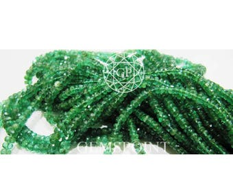Natural Zambian Emerald 3 - 4 mm Faceted Roundels, 4 inch Strand, Zambian Emerald Rondelle Beads (R-EME-0059)