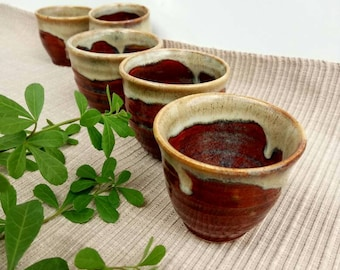 Set of 5 Small cup ,espresso cup , tea cup , brown cup.