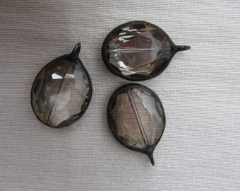 Hand Soldered Large Smoky Oval Crystal