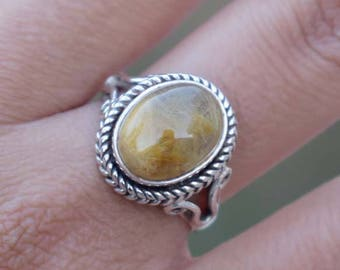 Yellow Rutile Ring- Rutile Quartz  Ring-925 Solid Sterling Silver Ring-Birthstone Gemstone Ring-Handmade Jewelry Ring-Mother's day Gift