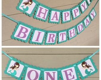 Mermaid banner, mermaid birthday banner, mermaid theme