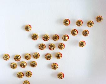 Small Gold Round Bindis,Bridal Bindis Stickers,Stone Bindis,Tiny Gold Round Face Jewels Bindis,Bollywood Bindis,Self Adhesive Stickers