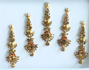 Gold Face Bindis Jewels,Wedding Long Bindis Stickers,Stone Bindis,Gold Bindis,India Bindis,Bollywood Bindis,Bindis,Self Adhesive Stickers
