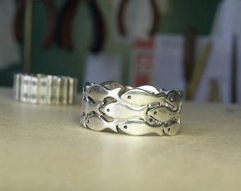 Fish silver ring - Handmade