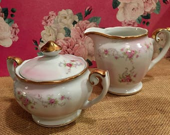 Vintage Lefton China Cream and Sugar Set