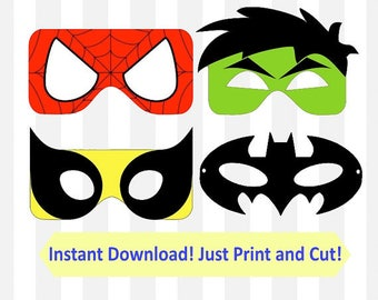 DIY Superhero Party Masks printable photo booth props, PNG Files, SVG Files for Silhouette Cameo Print and Cut, Cricut Explore, any other