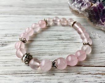 Rose Quartz Bracelet, Gemstone Bracelet, Boho Jewelry