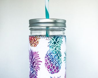 Mason Jar Tumbler // MULTI-COLOR PINEAPPLE // Tumbler // 24oz Mason Jar Tumbler with Multi-color Pineapple Cuff // Gift for Her