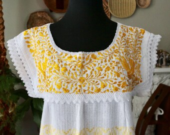 Vintage Embroidered and Crochet Mexican Peasant Dress, Ethnic Dress ,