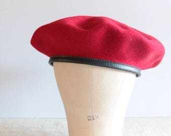 Vintage Red Wool and Leather Beret, Hat