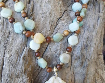 Kalika (Kali) Hindu Goddess White Jade and Amazonite Hand-beaded Necklace and Bracelet Set One of a Kind