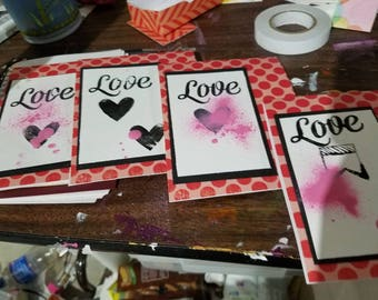 Set of 4 cards love