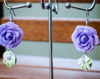 Earrings 'Purple Roses'