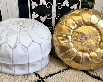 Moroccan pouf white round pouf leather pouf floor Pouf Leather Ottoman Moroccan home decor