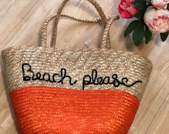 Beach Please Large Straw Beach Bag l Vacation, Bachelorette, Honeymoon, Girls trip
