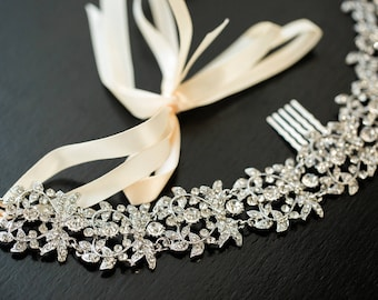 Crystal Bridal Headband, Wedding Hair vine, Wedding Hair Comb, Crystal Hair Comb, Wedding Hair Accessories, Floral Bridal Headpiece