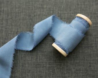 French Blue Silk Ribbon;  Crepe de Chine Silk; Periwinkle Blue, Wedding bridal bouquet, invitations, wedding favors