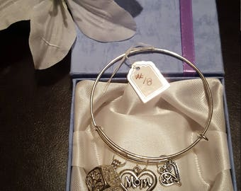 Item 18 * Charm Bangle Bracelet with Charms * Glow in the dark Tree of Life Charm * Mom Charm and A Heart Charm * Silver