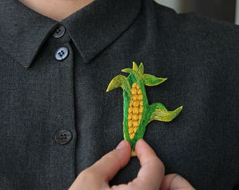 Vegan Jewellery Vegetarian Jewelry Corn Pin Yellow And Green Brooch Embroidered Vegetable Gift For Vegan