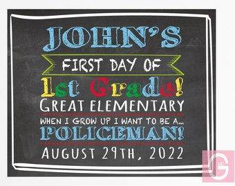 First day of school chalkboard, first day of school sign, first day preschool, first day kindergarten, first day school printable ANY GRADE