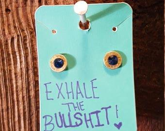 Sapphire Swarovski Crystals in .380 bullet casing earrings
