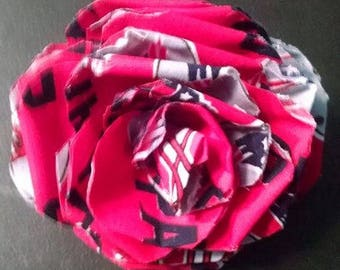 Fabric Rose Barrette New England Patriots