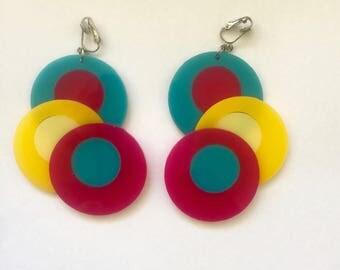 LUCITE dangle clip on earrings