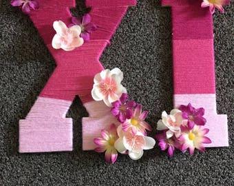 Multi Colored Yarn Flowered Sorority Letters