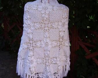 big crocheted womens shawl lace shawl knit shawl neck warmer hand knit shawl fashion scarf unique gift avant garde clothing Christmas
